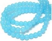 52pcs 6mm Sky Blue Jade Smooth Round Balls Gemstones Beads 28059aX510