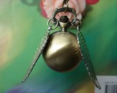 Steampunk Golden Snitch Balls Pocket Watch locket Necklaces with Double Sided Silver Angel Wings - FREE Ribbon