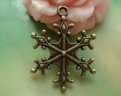 15 pcs 22mm Antique Bronze Snowflakes flowers Double Sided Charms Pendants g48380
