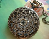 Large Antique Bronze Hollow Love Hearts Spiderwebs Steampunk Round Pockets Watch Locket Pendants Necklaces FREE Ribbon