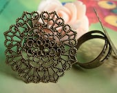5 pcs Antique Bronze Vintage Copper Filigree Adjustable Rings Base Settings with 30mm Round Flowers Pad g50861