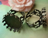 5 pcs Antique Bronze copper filled Adjustable Filigree Rings Base Settings with 20mm Pad Lace Edge g47480