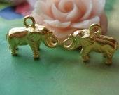 10 pcs 19x11mm Antique Gold 3D Elephants Charms Pendants g48060