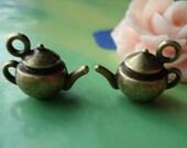 10 pcs 18x13mm Antique Bronze 3D Teapots tea pots Charms Pendants fc929010