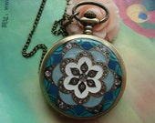 Large Antique Bronze Vintage Filigree Painted Light Blue Flowers with Diamond Jewel Round Pocket Watch Locket Pendants Necklaces Chains