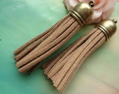 5 pcs 56X12mm Large Bronze Brown Lacing Strap Cord Rope Tassels with Copper Caps Charms Pendants g52141
