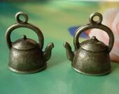 10 pcs 19x17mm Antique Bronze 3D Waters Kettles Teapots Pots Charms Pendants g54081