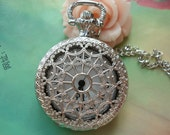 Medium Silver White Steel Hollow Hearts Flowers Spiderweb Steampunk Round Pocket Watch Locket Pendants Necklaces