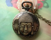 Medium Antique Bronze Vintage Filigree Buddha Buddha's Head Cameo Round Pocket Watch Locket Pendants Necklaces with Chains