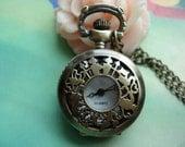 Small Antique Bronze Alices Wonderlands - Girls and Rabbits Round Pocket Watch Locket Pendants Necklaces