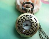 Small Antique Bronze Filigree Alices Wonderlands - Birds and Birdcages Round Pocket Watch Locket Pendants Necklaces
