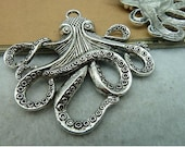 3 pcs 59x56mm Antique Silver Huge Octopus Fish with Tentacles Charms Pendants fc6732