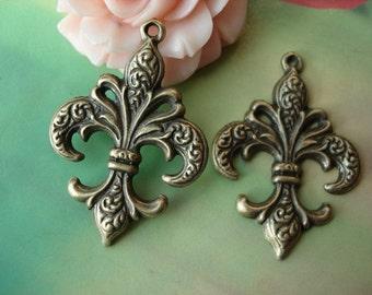 10 pcs 38x27mm Antique Bronze Thick Lily flowers anchors Symbols Connectors Charms Pendants f0600