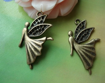 20 pcs 28x17mm Antique Bronze Dancing Dancers Angels with Wings Charms Pendants atg10039g09120