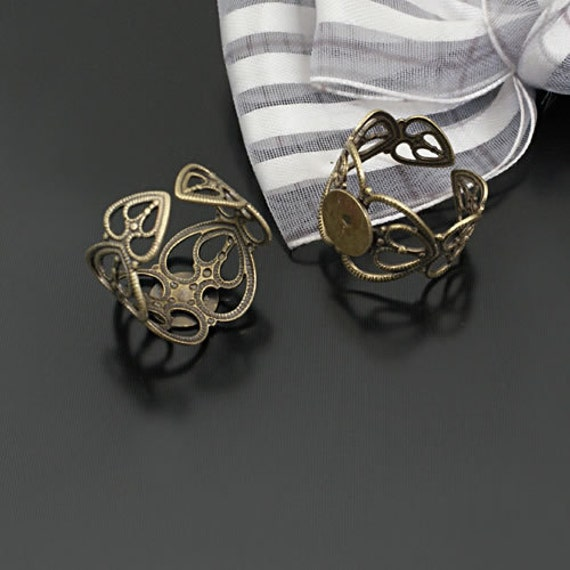 10 pcs Antique Bronze Copper Filled Filigree Adjustable Lacy Love Hearts Rings Base settings with 8mm Pad g37140