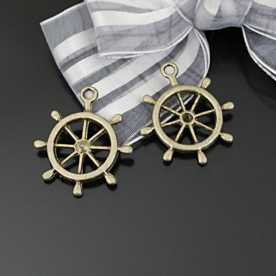 10 pcs 28x25mm Antique Bronze Brass Ship's Wheels Anchors Rudders Charms Pendants G32821