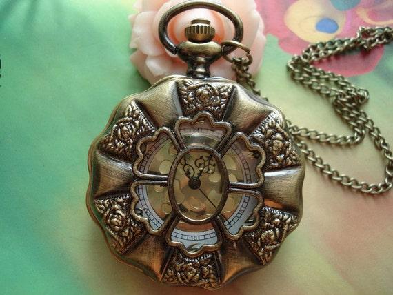 Large Antique Bronze Vintage Filigree 6pcs Rose Flowers Golden Movements Brass Pocket Watch Locket Pendants Necklaces FREE Ribbon
