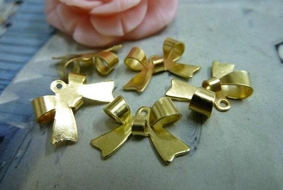 50 pcs 15x10mm Gold Bows Bowknot Charms Pendants fc8901