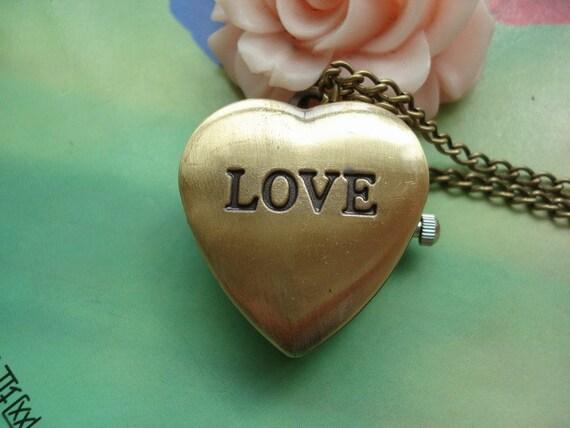 Small Antique Bronze Vintage Filigree 3D Love Hearts Pocket Watch Locket Pendants Necklaces FREE Ribbon