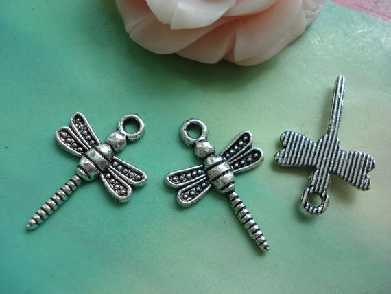 25 pcs 21x14mm Antique Silver Vintage Lovely Small Dragonfly Charms Pendants g52731