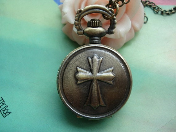 Small Antique Bronze Vintage Cross Steampunk Round Pocket Watch Locket Necklaces with Chains