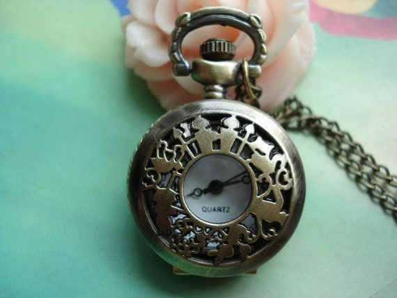 Small Antique Bronze Alices Wonderlands - Girls and Rabbits Round Pocket Watch Locket Pendants Necklaces