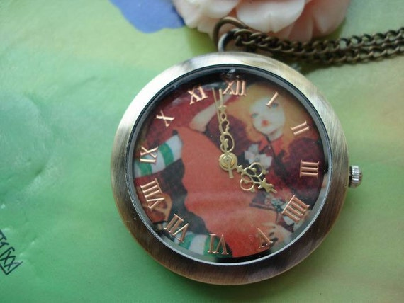 Medium Antique Bronze Vintage Filigree Painted Little Witch Round Pocket Watch Locket Necklaces with Chains