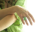 Mosaic Cocktail Ring. Unique Statement Ring in Green. Handmade Bohemian Ring