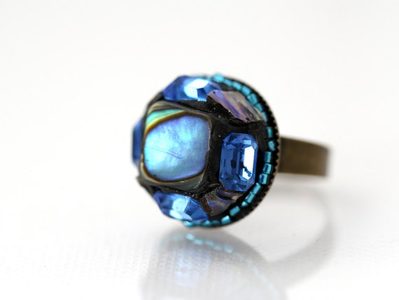 OOAK Blue Ring. Paua Shell Statement Ring in blue. Unique Handmade Bohemian Ring. Statement Jewelry