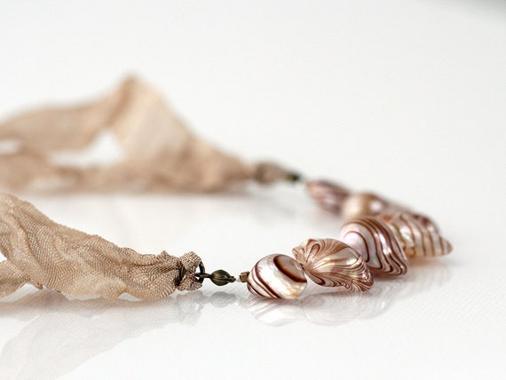 """Blister Pearl Necklace with Crinkled French Ribbon in Beige Tan, Adjustable from Choker to 22"""""""