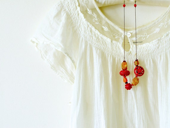 Chunky Bead Necklace . Handmade Jewellery -  statement necklace with bright, fun beads in red and yellow