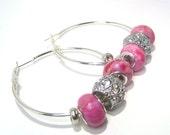Rhinestone Hoop Earrings in Pink