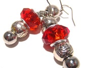 Red Hot Earrings with Large Hole Beads