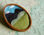 "Felt mountain brooch - ""My mountain home"""