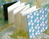 Accordion book - handmade blank book, Japanese paper blue floral cover