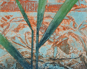 Copper Etching. Reed Bed and rust. Hand printed Limited edition.