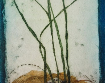Drypoint on aluminium. OOAK. Block printed chine colle tissue. Reeds.