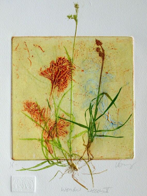 Collograph mono print, wonderful weeds. Botanical print.