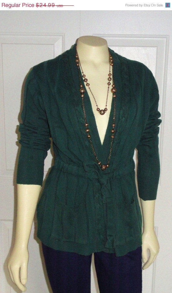 ON SALE 70s Green Cardigan Ribbed Belted Sweater V-Neck Forest Green