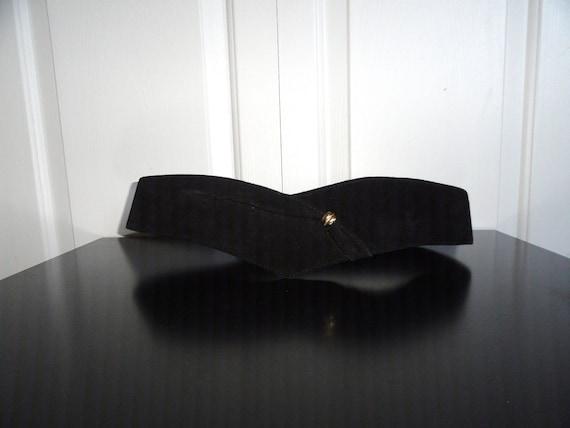 Vintage 80s Belt Liz Claiborne Black Suede V Belt Gold Accent Large