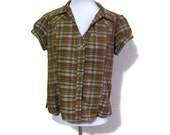Vintage Brown and Blue Plaid Women's Blouse, Size 8/10