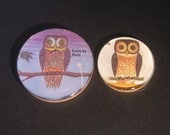 Owl Night and Day Text Book Illustration Magnet Set of 2