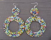 Dinka - Multi color Maasai 2 Tier Seed Bead earrings