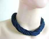 Silk Necklace in Navy and Purple
