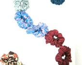 12 Floral Silk Hair Scrunchies