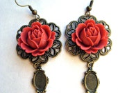 Victorian inspired Burnt Orange cabbage rose Filigree antique mirror earrings  marie antionette Shabby chic
