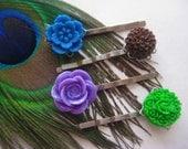 Peacock Hair Pins Paradise blue purple brown green Antique silver filligree base