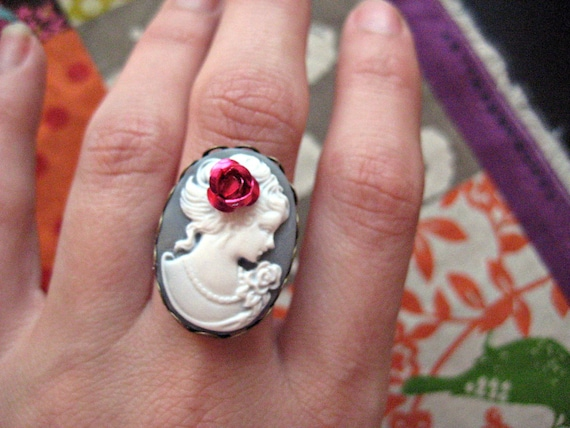 Victorian Cameo Ring Marie Antoinette Inspired Filigree Steampunk