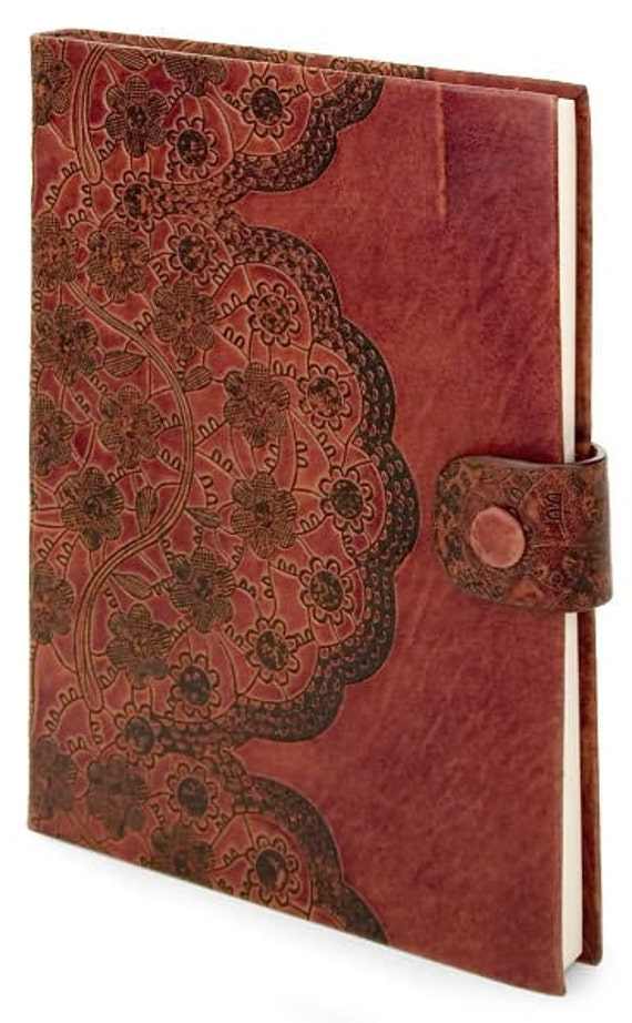 Brown Buffalo Leather Antique Lace Embossed Kindle Fire Case