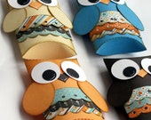 Owl Paper Gift Boxes Set of 12 Blue Brown Orange Made to Order
